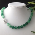 Green Genuine AGATE 10mm Round-Faceted Gemstones Classic Necklace.