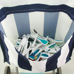 White & Blue Canvas Clothes Peg Bag Holder- For Trolley & Washing Line