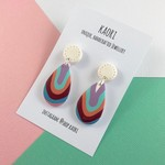 Polymer clay earrings, statement  earrings in rainbow stripes