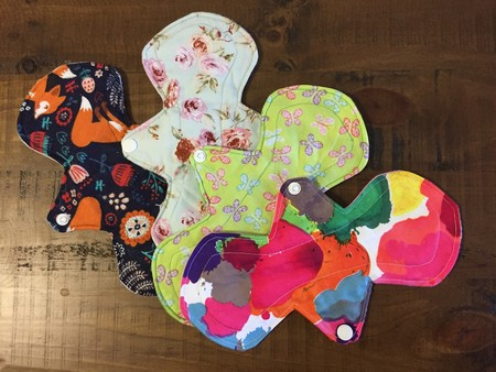4 pack of 10 inch reusable menstral pads.