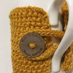 Handmade mustard cup cozy or mug, tea cosy, coffee cozy, mustard yellow mug cozy