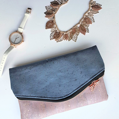 Silver Rose foldover clutch