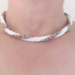 White and Multi Rope Necklace