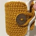 Handmade mustard cup cozy or mug, tea cosy, coffee cozy, mustard yellow mug cozy