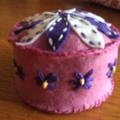 Pin cushion. 100% wool felt hand embroidered.