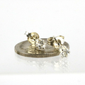 Genuine 3mm WHite Topaz gemstone sterling silver stud earrings