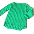 3-6 mth Baby Jumper , FREE POST , Green , Cotton, Hand Knit