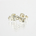Genuine 3mm WHite Topaz gemstone sterling silver stud earrings
