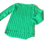 3-6 mth Baby Jumper , Green , Cotton, Hand Knit