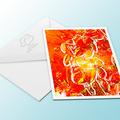 Sizzling hot frangipani flower greeting card.