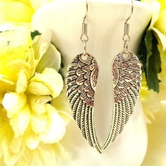 Large Silver Angel Wing Earrings