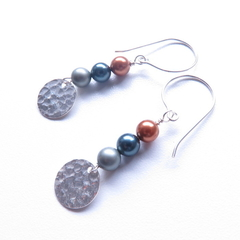 Moon sterling silver + pearl drop earrings by Sasha + Max