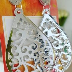 Silver Lace Teardrop - Acrylic Dangle Earrings