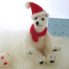 Needle felted polar bear, felt animal, Christmas decoration, stocking stuffer
