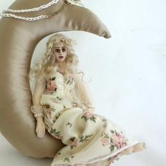 Art doll cloth angel moon soft sculpture wall hanging home decor MOONBEAM