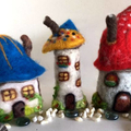 Needle felted, fairy garden houses, Set of 3, Gnome house, Toadstool cottages, d