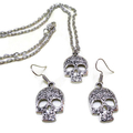 Silver Sugar Skull Earrings and Necklace Set