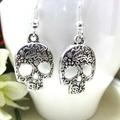 Silver Sugar Skull Earrings