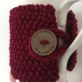 Handmade maroon red cozy or mug, tea cosy, coffee cozy, mug cozy, maroon cozy