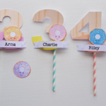Donuts Cake Topper Personalized Name and Number Wood Look Birthday Party Cake