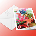 Christmas Cactus Christmas card with flowers and baubles
