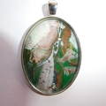 Pendant, necklace, hand painted, oval bezel