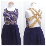 Size 6 - Summer Dress - Floral - Cotton - Retro Navy - Mustard