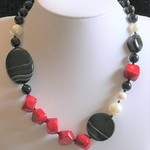 Red Coral Agate Onyx  and Shell  Pearl Necklace