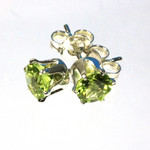 Genuine Peridot 5mm sterling silver stud earrings