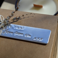 Custom embossed gift tag
