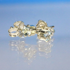 Sky Blue Topaz 3mm tiny sterling silver stud earrings