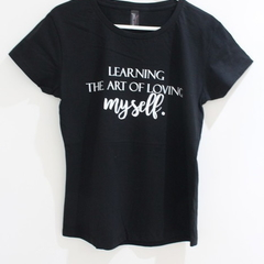 Learning the art of loving myself, 100% Combed Cotton T-Shirt for women Black
