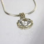 White Topaz 6mm Argentium illusion pendant necklace
