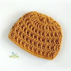 Mustard Vintage Crochet Newborn Baby Beanie