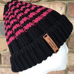 Black striped merino beanie, pink beanie, black ladies beanie,