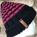 Black striped merino beanie, pink beanie, black ladies beanie,Ladies hat