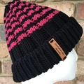 Black striped merino beanie, pink beanie, black ladies beanie,Ladies hat