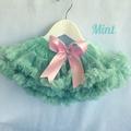 Emerald Green or Mint Glitter Baby Tutus Chiffon Ruffle Baby Pettiskirts with bu