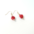 Coral and Gold Drop Earrings