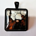 Pendant, necklace hand painted,  square bezel