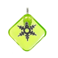 Transparent Green Pendant with Snowflake