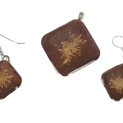 Brown highlighted  Earrings and Pendant