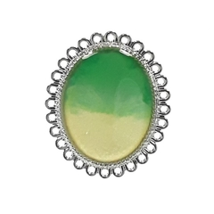 Green and White Abstract Oval Pendant