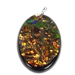 Delicious Sparkling Orange/Green Oval Pendant