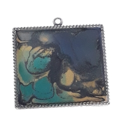 Mainly Blue and Black Abstract  Pendant