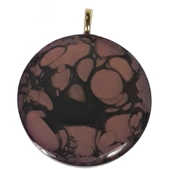 Hand painted Purple  with Black Swirl Pendant
