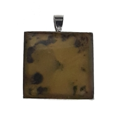 Orange and Black Abstract Square Pendant