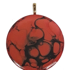Hand painted Red with Black Swirl Pendant