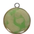 Green Swirl and Grey  with Black Swirl Double Sided Pendant