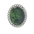 Green and Black Abstract Oval Pendant